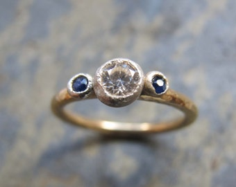 Handmade sapphire engagement ring- gold engagement ring