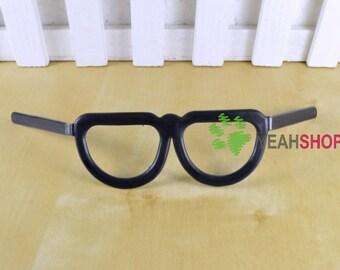 Black Plastic Glasses Black-Frame Glasses for Doll and Amigurumi - 7.5cm/3 Inch Wide - 1 Piece
