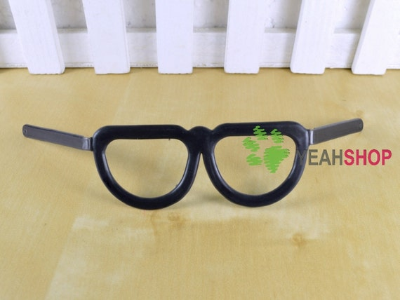 Black Plastic Glasses Black-Frame Glasses for Doll and