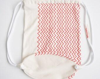 Drawstring Bag, Gym Sack Pack, Sling bag, Backpack, Organic Cotton, Summer bag