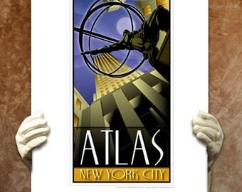 Atlas Shrugged Travel Poster Wall Decor New York Landmarks Rockefeller Center Manhattan Landmark Dorm Artwork Fine Art Print by GAVRON