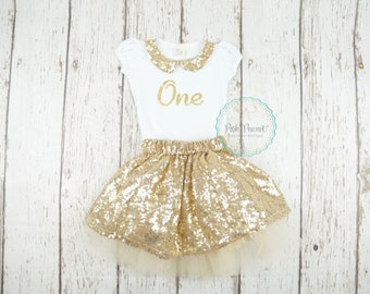 gold sequin skirt, girl birthday outfit, gold birthday outfit, gold sparkle skirt, baby girl birthday outfit, sparkle outfit, 2nd birthday
