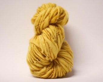 Merino Thick and Thin Yarn Bulky Hand Spun Wool Slub  Hand Dyed tts(tm) Daffodil 000x