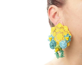 Earrings-Yellow Crystal Crochet Beaded Floral Rose Statement Clip On Earrings, Crochet Earrings, Bohemian Jewelry, Unique Textile