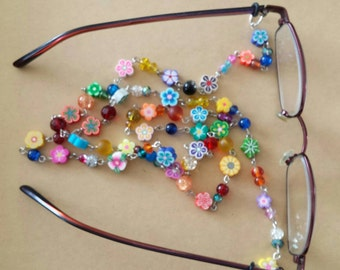 Sale was 13 now 11uk Fimo Flower and Beads Sunglasses/ Spec necklace.