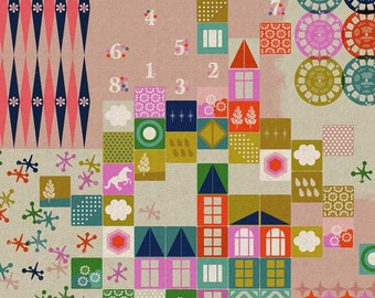 Playful CANVAS Playroom in Pink, Melody Miller, Cotton+Steel, RJR Fabrics, Cotton and Linen Blend Canvas Fabric, 0017-12