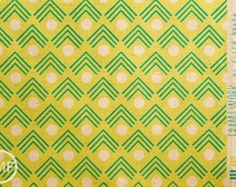 Framework Corners CANVAS in Chartreuse, Ellen Baker for Kokka Fabrics, Cotton and Linen Canvas Fabric, JG-41900-902B