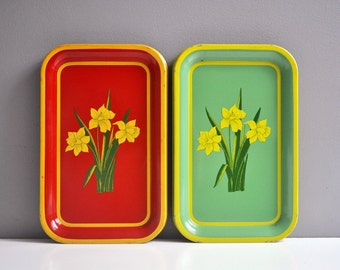 Pair of Vintage Metal Daffodil Serving Trays