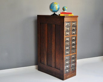 Antique Oak Twenty Two Drawer File Cabinet