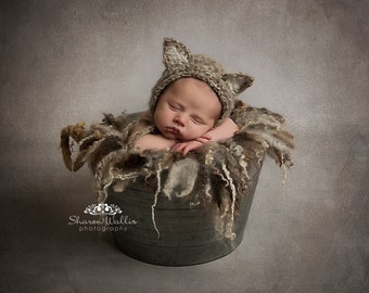 Soft mohair kitten, cat bonnet. Choose your colour. Newborn. Great photo photography prop.
