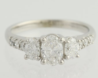 Diamond Engagement Ring - 14k White Gold Three-Stone w/ Accents 1.33ctw Unique Engagement Ring L8320