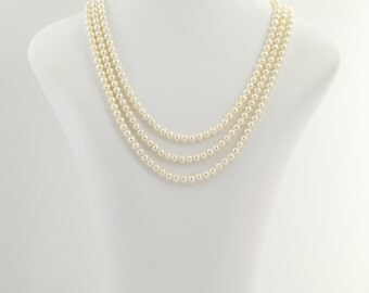 "Triple Strand Cultured Pearl Necklace 16 1/4"" - 14k Yellow Gold June Gift L9800"