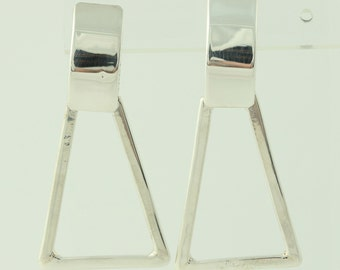 Dangle Geometric Earrings - Sterling Silver 925 Pierced Chunky Butterfly Backs Q4941