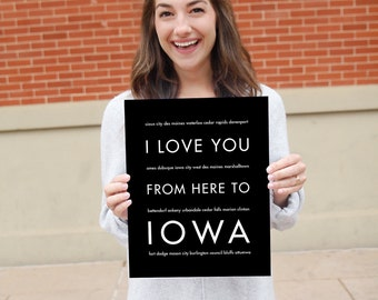 Iowa Hawkeye, Iowa State Art, College Graduation Gift, Wall Hanging, I Love You From Here To IOWA, Shown in Black
