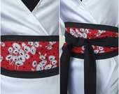 Black Organic Cotton Wrap Belt With Poppy Floral In White With Red