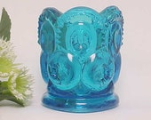 L.E. Smith Blue Moon and Stars Toothpick Holder , 1970s Collectible Kitchen Glass, Mid Century Vanity Q Tip Holder, Home Decor Glassware