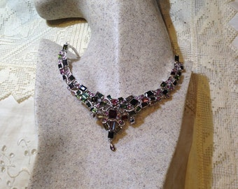Vintage deep toned Genuine Tourmaline and 925 Sterling Silver Necklace
