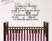 a baby is a blessing wall decal, nursery room wall decal