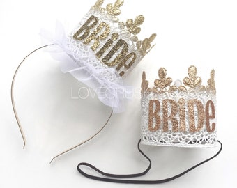 Bride crown || Bachelorette || Bride-to-Be || White with Gold or Rose Gold sparkle || Sage lace crown || hard headband or elastic