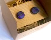 Men's cuff links blue purple Pride of Scotland tartan cuff links, wedding gifts, wedding cuff links