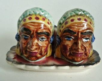 Vintage Native American Salt & Pepper with Tray