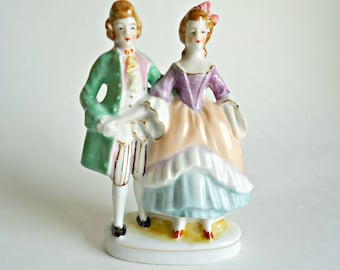 Occupied Japan Colonial Man and Woman Figurine Courting Couple Handpainted Meruyama