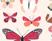Natural History Butterflies in Natural by Lizzy House for Andover Fabrics