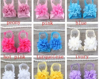 Set of 8 Baby Barefoot Sandals, Infant summer shoes, Baby Gift, Baby Accessories, Newborn Shoes, Baby Shoes, Toe Blooms, 16 color to choose