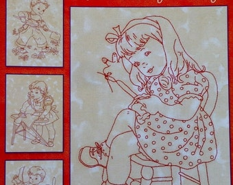 SALE Redwork Through The Year WORK & PLAY By Dolores Storm For Lakadaisies - Redwork Stitchery Embroidery Quilting Pattern Booklet