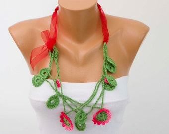 Crochet necklace ,crochet jewelry ,crochet  bip necklace,crochet necklace, fiber  necklace