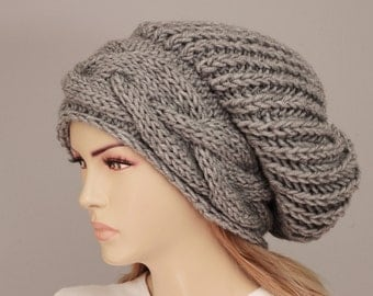 Big Sale - Beanie hat winter slouchy oversized  knit hat for woman in grey -  COLOR OPTION  AVAILABLE