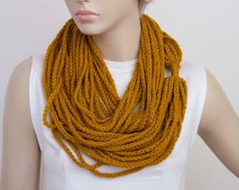 crochet chain  lariat scarf , crochet chain loop scarf ,crochet infinity scarf ,mustard yellow