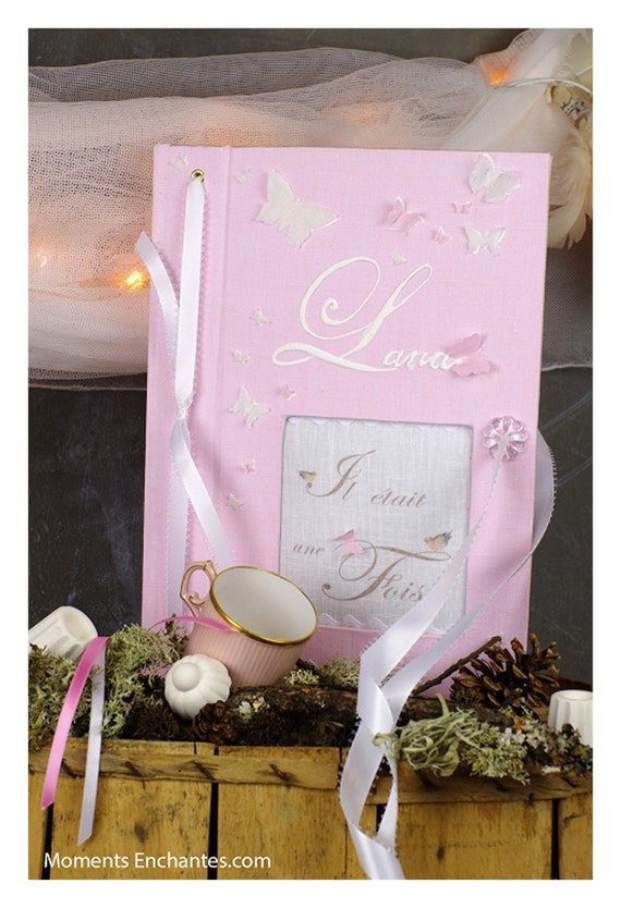 "Saint Valentin Guest book ""butterfly"" pink  Personalized"