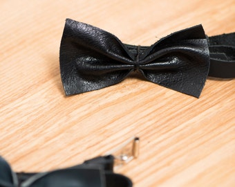 Black Leather bow tie / chic black leather bow tie / wedding bow tie / unisexe gift idea / leather / groomsmen bow tie / mans bow ties