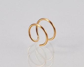 14K Gold Double Nose Ring - Fake Double Nose Ring - Faux Double Piercing - Fake Double Piercing - Double Nose Hoop - Faux Nose Ring