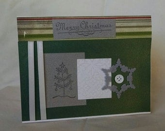 Merry Christmas Green and Gray Card