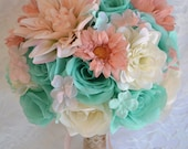 "17 Piece Package Wedding Bridal Bouquet Silk Flowers Bouquets Bridesmaid ROBIN'S Egg BLUE Spa PEACH Blush Rustic ""Lily of Angeles"" TIPE01"