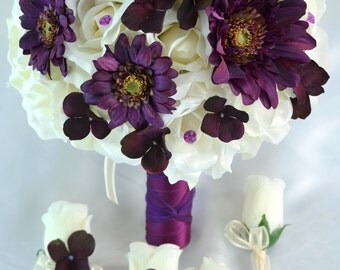 17 Piece Package Silk Flowers Wedding Bouquet Artificial Bridal Party Bouquets Bride Decorations PLUM PURPLE IVORY