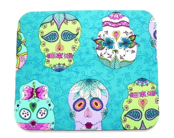 Mouse Pad - Fabric mousepad - Day of the Dead Halloween hot pad - Home office / computer