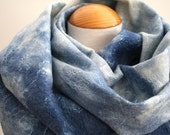 Reserved for Kate, Handmade Nuno Felt Scarf, Dip Dyed in Blues