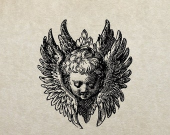 80% OFF - Winged cherub face (Image 66d) - PNG / JPG Digital Image Download - Transfer / Iron on / Clip-art / Commercial Use