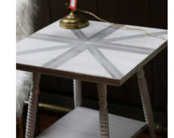 Victorian oak plant stand style table with painted union jack top