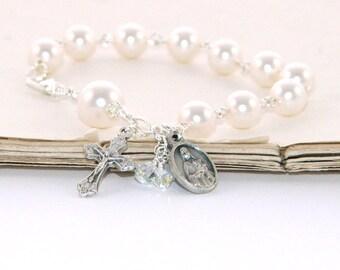 Saint Therese Rosary Bracelet, White Swarovski® Pearl Catholic Jewelry