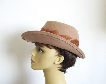 Vintage Wool and Feather Hat, 80s Tan Fedora of Lancaster Wool, Made in the USA
