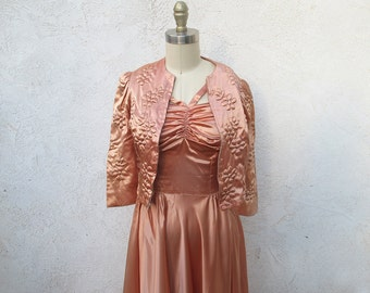 Vintage 40s Evening Gown, Champagne Satin 1940 Formal Dress with Jacket, XSmall Halter Dress