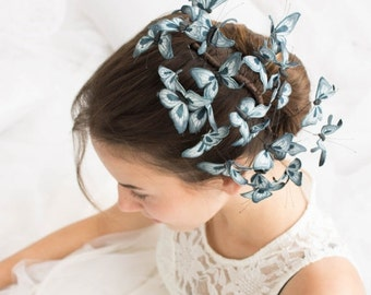 Christmas SALE Dark Blue Butterflies Comb Wholesale Hair Accessory Decoration Butterflies Crown Bridal Hair Vines Wedding Hair Wedding Comb