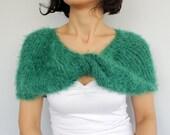 Emerald Green Shoulder Wrap, Twisted Knit Shrug Bolero, Bridesmaid Shawl Custom Order Knit Fall Wedding Dress Coverup Evening Cape Stole