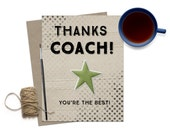 Thank You Coach Greeting Card / Coach Card / Thank You Coach / Coach Thanks / Number 1 Coach Card / Sports Thank You / Best Coach Card