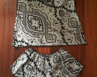 Black and White, Paisley Print, Valentino Intimates from the 80s