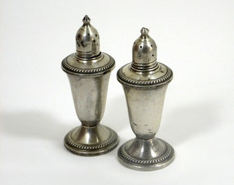 "Vintage 5"" Sterling Silver Weighted Glass Lined Salt and Pepper Shakers."